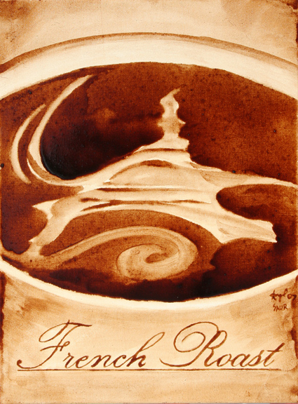 """Andrew Saur & Angel Sarkela-Saur created this original """"French Roast"""" Coffee Art® painting. It features an artistic image of the Eiffel Tower swirling in a cup of coffee."""