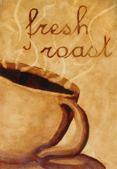 """Andrew Saur created this original """"Fresh Roast"""" Coffee Art® painting. It features steam rising from a hot cup of coffee."""
