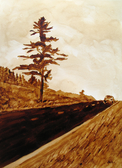"Andrew Saur created this original ""The Honking Tree"" Coffee Art® painting. It features this historic tree that is now a distant memory."