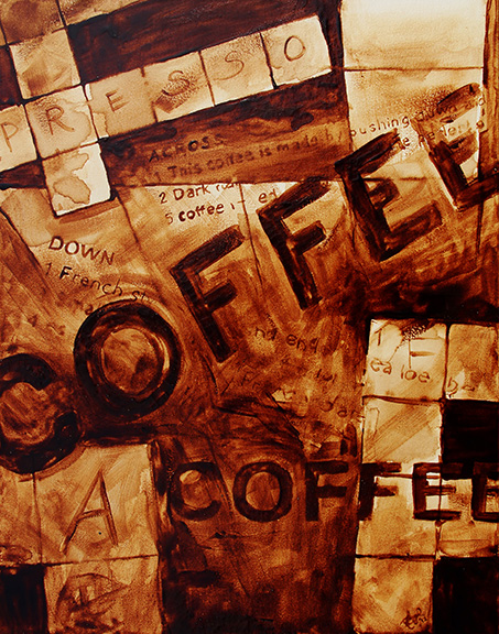 "Angel Sarkela-Saur created this original ""Inspiring Beverage Involving Roasting"" Coffee Art® painting. It features a crossword puzzle with coffee hints."
