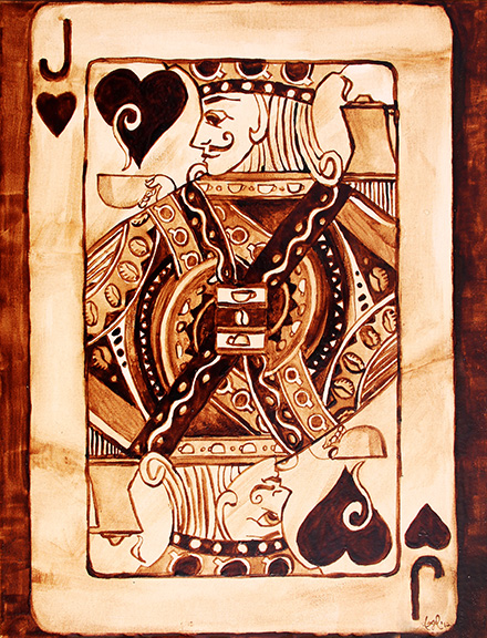 """Angel Sarkela-Saur created this original """"Jack of All Coffee"""" Coffee Art® painting. It features a Jack playing card holding a cup of coffee."""