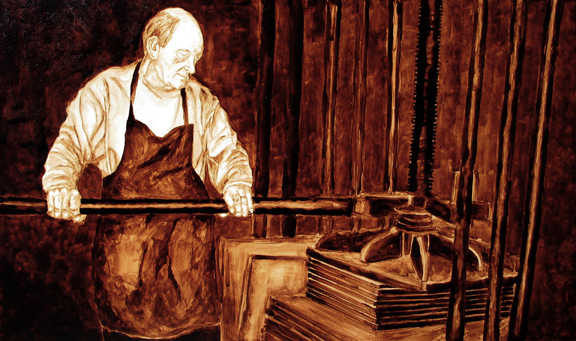 "Andrew Saur and Angel Sarkela-Saur created this original ""John the Bookmaker"" Coffee Art® painting. It features John at the bookpress, pulling hard on the bar to squeeze the books into shape."
