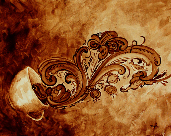 """Angel Sarkela-Saur created this original """"Kaffe Rogaland"""" Coffee Art® painting. It features coffee flowing in rosemaling shapes out of a cup."""