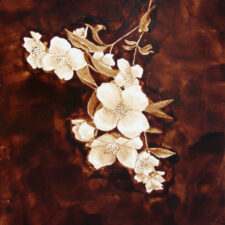 "Angel Sarkela-Saur created this original ""Kukkia"" Coffee Art® painting. It features beautiful white flowers over a dark, rich background."