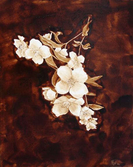 "Angel Sarkela-Saur created this original ""Kukkia"" Coffee Art® painting. It features beautiful white flowers over a dark, rich background."