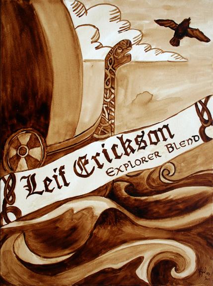 "Andrew Saur and Angel Sarkela-Saur created this ""Leif Erickson Explorer Blend"" Coffee Art® painting featuring a Viking ship crashing through the seas."