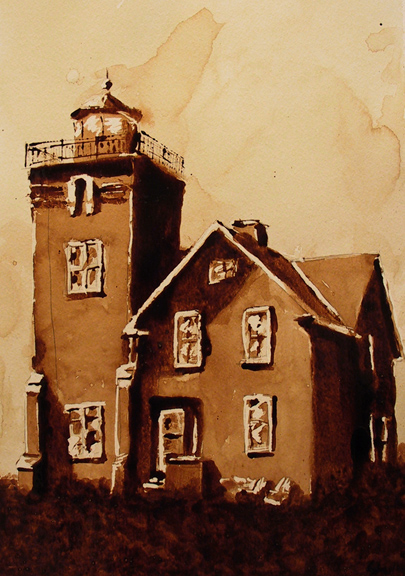 """Andrew Saur created this original """"Light of the Harbor"""" Coffee Art® painting. It features the historic Two Harbors Lighthouse on the shore of Lake Superior."""
