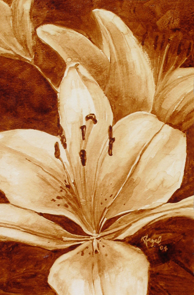 "Angel Sarkela-Saur created this original ""Lilja"" Coffee Art® painting. It features a beautiful lily blooming."