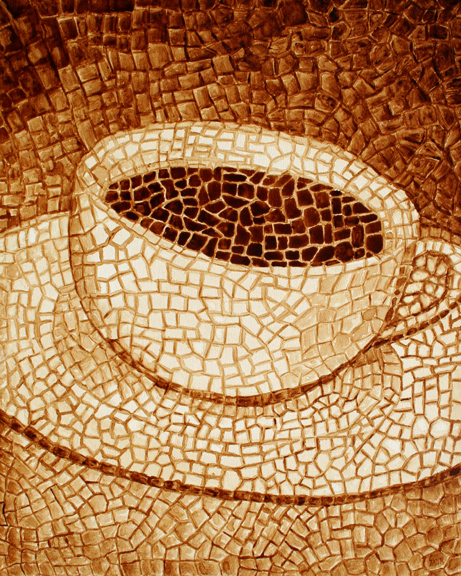 """Andrew Saur created this original """"Meticulous"""" Coffee Art® painting. It features a mosaic style painting forming a cup of coffee."""