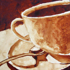 "Andrew Saur created this original ""Morning Brew"" Coffee Art® painting. It features a cup of coffee ready to be sipped."