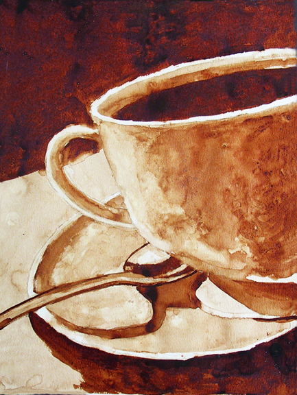 """Andrew Saur created this original """"Morning Brew"""" Coffee Art® painting. It features a cup of coffee ready to be sipped."""