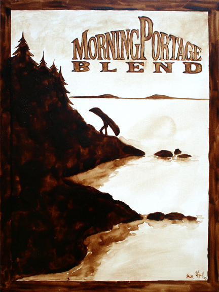"""Andrew Saur & Angel Sarkela-Saur created this original """"Morning Portage Blend"""" Coffee Art® painting. It features a person portaging a canoe at daybreak."""