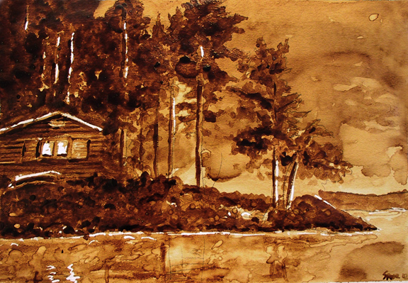 """Andrew Saur created this original """"North Shore Retreat"""" Coffee Art® painting. It features a cabin nestled in among the trees near a serene lake."""