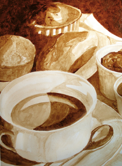 """Angel Sarkela-Saur created this original """"Parisian Breakfast"""" Coffee Art® painting. It features a cup of coffee among a delectable breakfast assortment."""