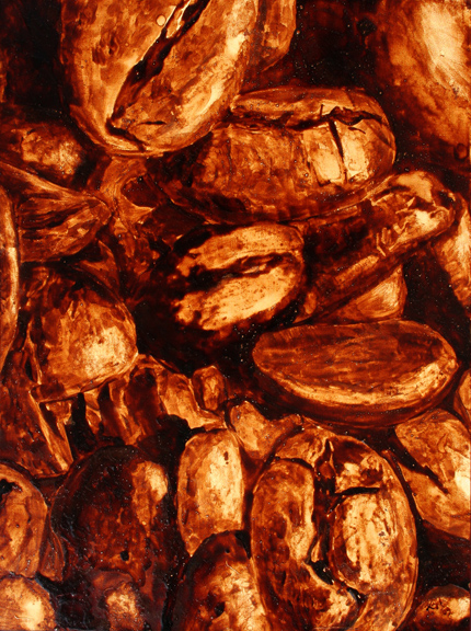 "Angel Sarkela-Saur created this original ""Roasted"" Coffee Art® painting. It features a close up view of roasted coffee beans."