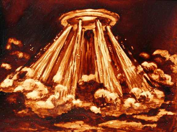 """Angel Sarkela-Saur created this original """"Scalding"""" Coffee Art® painting. It features an inside look of an espresso machine with plumes of steaming hot water mixing with the coffee."""