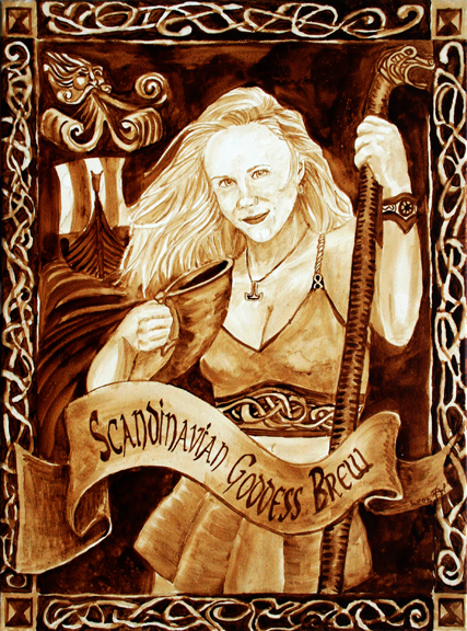 "Andrew Saur and Angel Sarkela-Saur created this ""Scandinavian Goddess Blend"" Coffee Art painting featuring a Norse Goddess raising her horn of coffee."