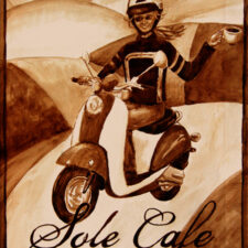 "Angel Sarkela-Saur created this original ""Solé Café"" Coffee Art® painting. It features a girl cruising on a scooter with a cup of coffee in hand."