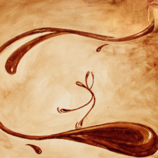 """""""Spinning"""" features coffee spilling out of a cup and a figure skater gliding down a wave of coffee."""