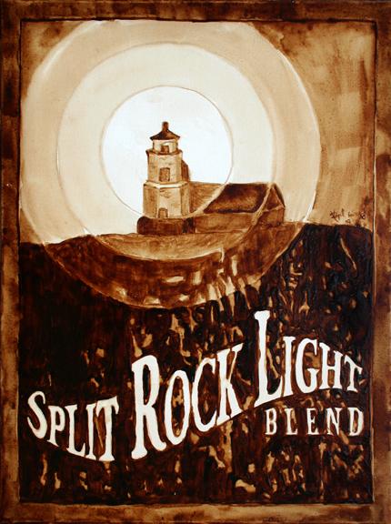 "Andrew Saur & Angel Sarkela-Saur created this ""Split Rock Light Blend"" Coffee Art painting featuring a beam of light emanating from Split Rock Lighthouse."