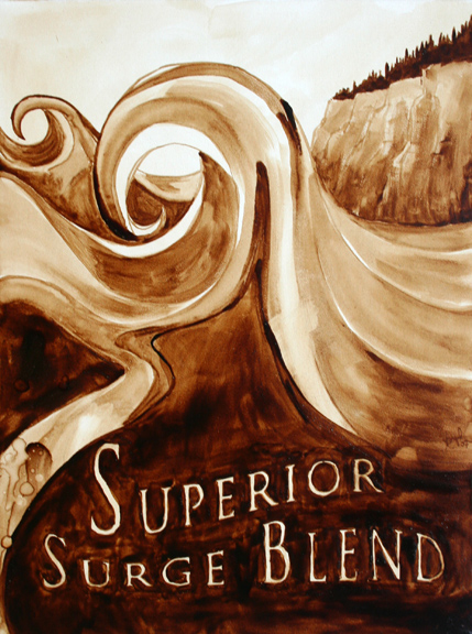 "Andrew Saur & Angel Sarkela-Saur created this original ""Superior Surge Blend"" Coffee Art® painting. It features a wave crashing on Lake Superior."