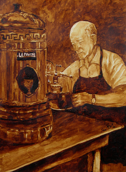 "Andrew Saur and Angel Sarkela-Saur created this original ""The Barista"" Coffee Art® painting. It features a barista preparing the next order of coffee for a thirsty customer."
