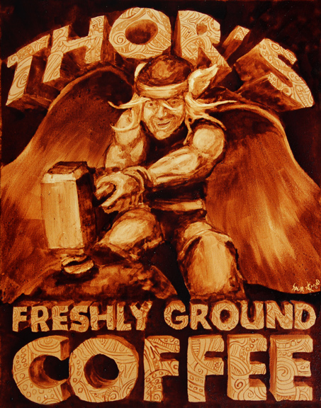 """Andrew Saur and Angel Sarkela-Saur created this original """"Thor's Freshly Ground Coffee"""" Coffee Art® painting. It features the Norse god, Thor, using his hammer to smash a coffee bean."""