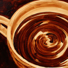 "Angel Sarkela-Saur created this original ""Tremors"" Coffee Art® painting. It features a ripples in a cup of coffee."