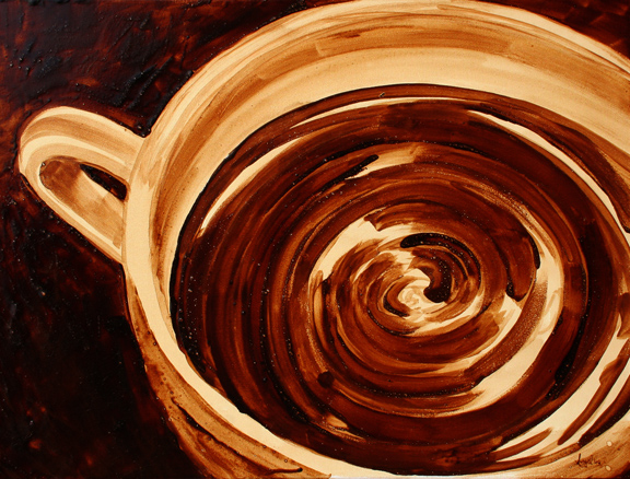 """Angel Sarkela-Saur created this original """"Tremors"""" Coffee Art® painting. It features a ripples in a cup of coffee."""