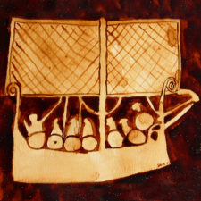 "Andrew Saur created this original ""Viking Ship Pictogram"" Coffee Art® painting. It features a representation of an image of a Viking ship from long ago."