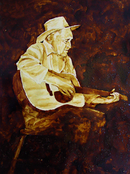 """Angel Sarkela-Saur created this original """"Vintage Val"""" Coffee Art® painting. It features an old cowboy strumming an old tune on his guitar."""