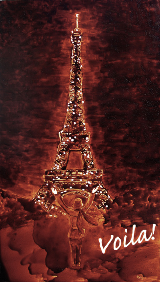 """Angel Sarkela-Saur created this original """"Voilà!"""" Coffee Art® painting. It features a person gazing up in amazement at the Eiffel Tower."""