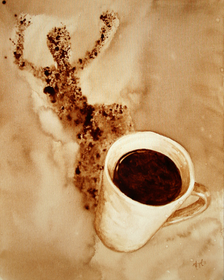 """Angel Sarkela-Saur created this original """"Whee!"""" Coffee Art® painting. It features an energized figure leaping out from the coffee mug's shadow."""