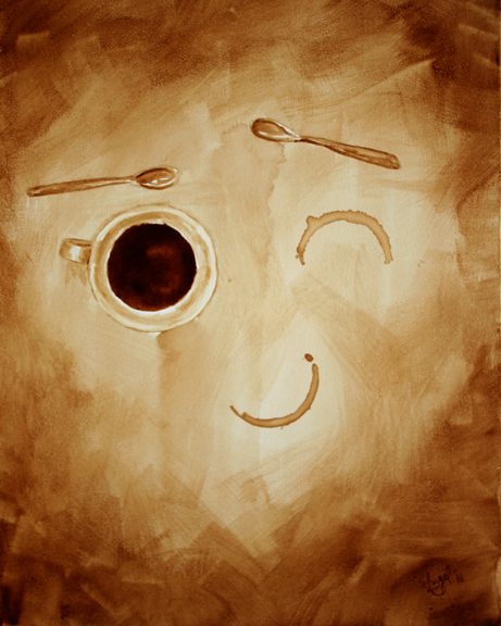 """Angel Sarkela-Saur created this original """"With a Wink"""" Coffee Art® painting. It features a coffee mug and two well placed coffee ring stains."""