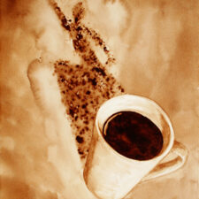 "Angel Sarkela-Saur created this original ""Zoom!"" Coffee Art® painting. It features an energized figure leaping out from the coffee mug's shadow."