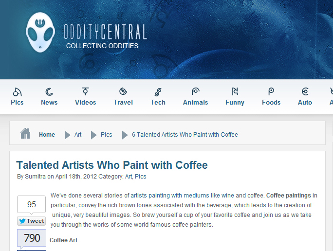 Coffee Ar® featured on Oddity Central