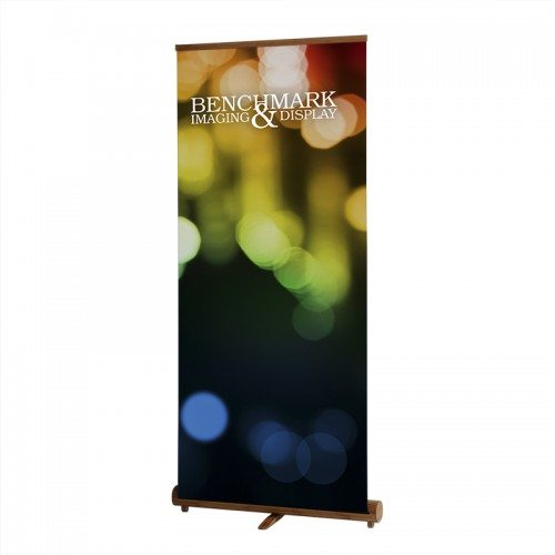 Fully Setup Bamboo Banner Stand with Custom Graphic