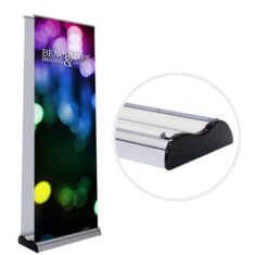 Double Sided Banner Stand with Telescoping Pole for Adjustable Height