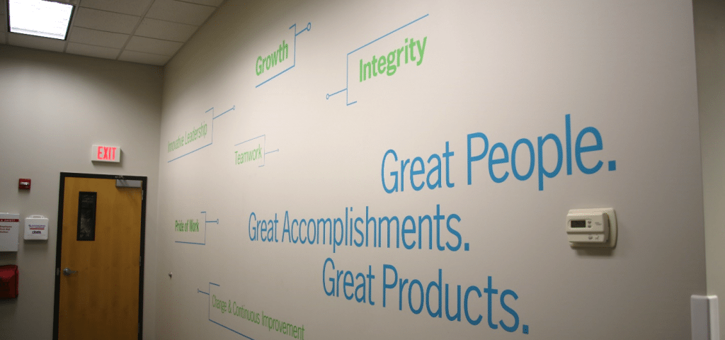 Wall graphics and stencils for rauland vinyl offices