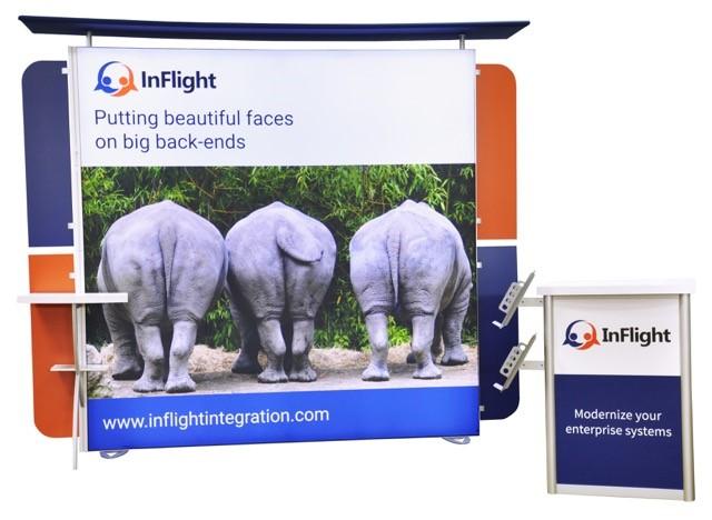 Custom 8x8 backlit backdrop with custom reception counter