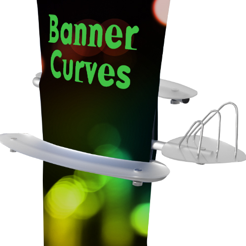 Fabric pop up banner stand fully assembled with optional shelving and literature rack.