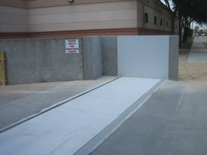 FloodBreak passive flood barrier protects hospital loading dock