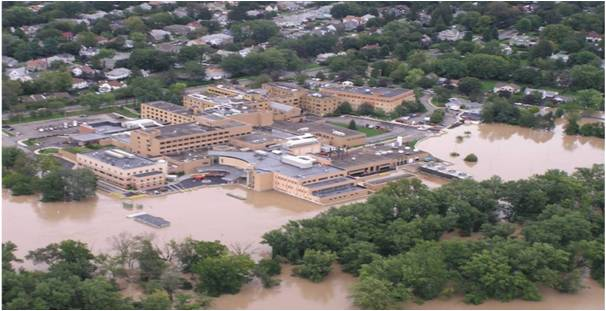 The hospital was able to remain open thanks to a FEMA funded flood mitigation that included a floodwall and 111 FloodBreak floodgates