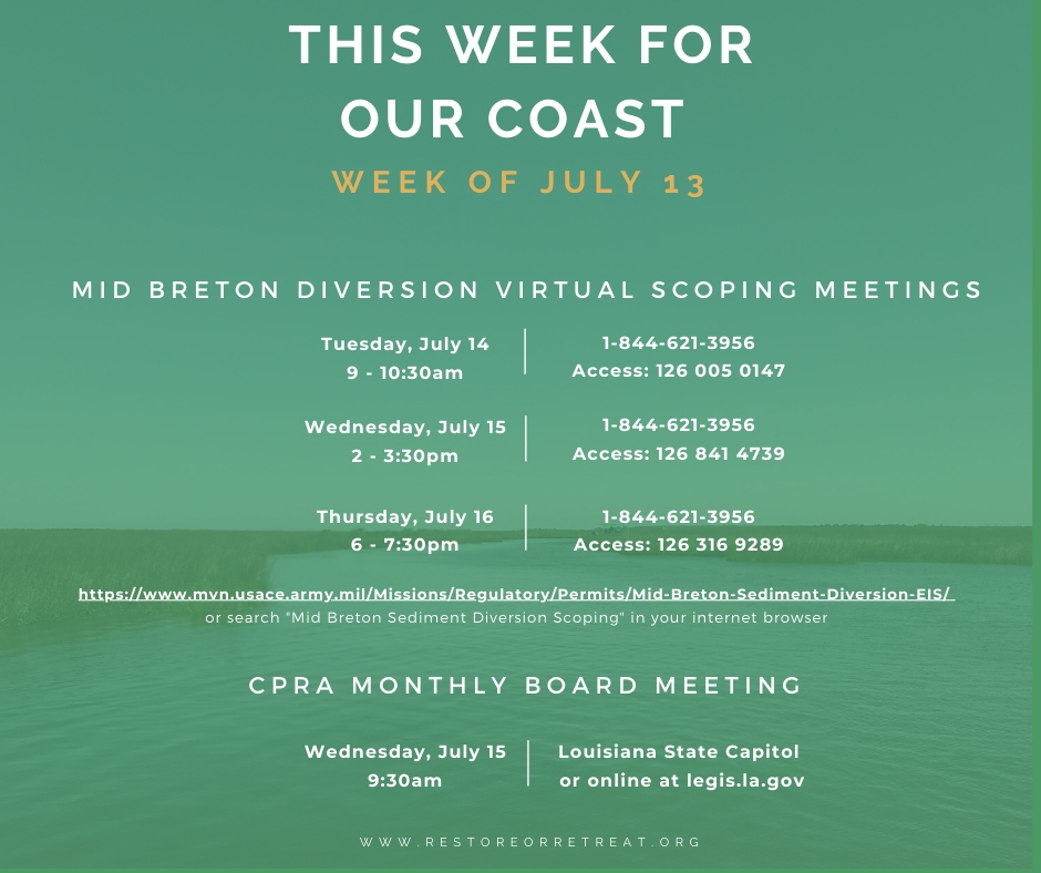 Coastal Meetings for the Week of July 13