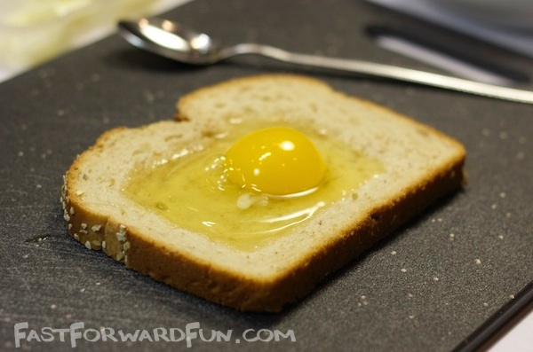 Baked Cheesy Egg Toast -- Kind of like egg in a hole, but better!