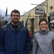 Tay Whiteside and Grayson Goldsmith stand outside Black Dog Salvage
