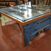 a table made of blue doors from VMI
