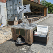 a hydration station made of architectural salvage
