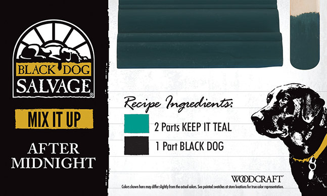 """After Midnight"" is made from 2 Parts ""Keep It Teal"" and 1 Part ""Black Dog"""