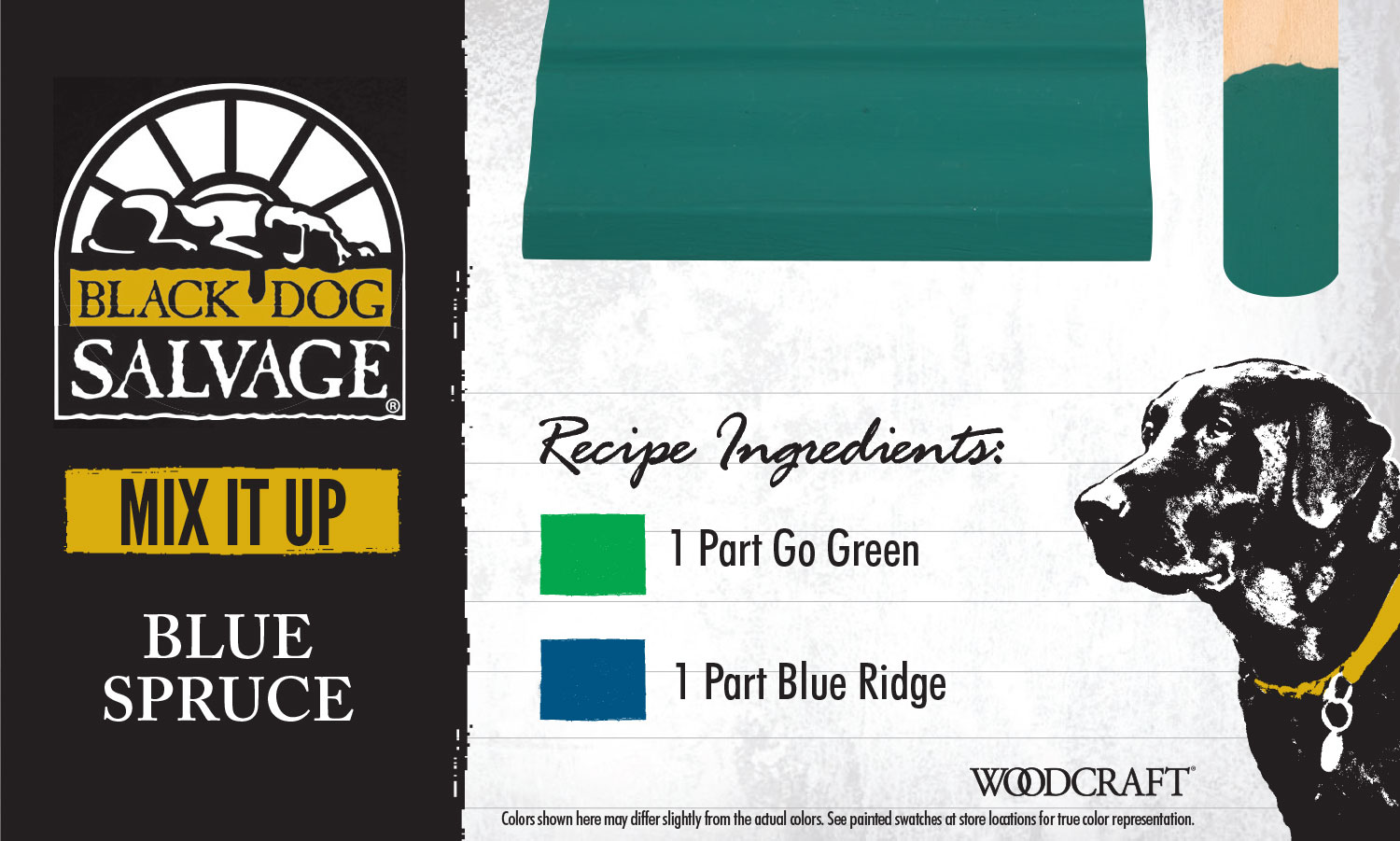 """Blue Spruce"" is made from 1 Part ""Go Green"" and 1 Part ""Blue Ridge"""
